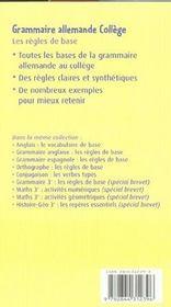 Grammaire allemande ; les règles de base - 4ème de couverture - Format classique
