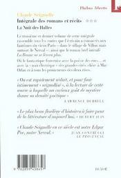 Intégrale des romans et nouvelles t.3 ; la nuit des halles - 4ème de couverture - Format classique