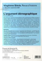L'argument démographique (édition juillet-septembre 2007) - 4ème de couverture - Format classique