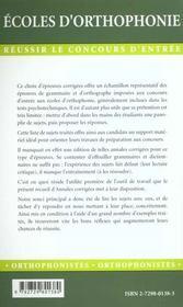 Epreuves Corrigees Et Commentees De Grammaire Et D'Orthographe - 4ème de couverture - Format classique
