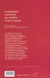 L'Exploration Naturaliste Des Antilles Et De La Guyane Francaises - 4ème de couverture - Format classique