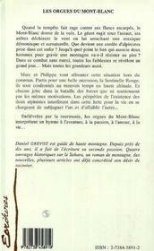 Les Orgues Du Mont-Blanc - 4ème de couverture - Format classique