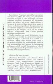 Religion Et Action Dans L'Espace Public - 4ème de couverture - Format classique