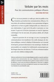 Séduire par les mots ; pour des communications publiques efficaces (2e édition) - 4ème de couverture - Format classique