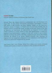Guerres Et Paix - 4ème de couverture - Format classique