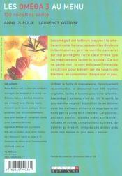 Omega 3 Au Menu (Les) - 4ème de couverture - Format classique