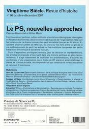 Revue Vingtieme Siecle N.96 - 4ème de couverture - Format classique