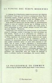 La Famine Des Temps Modernes ; Essai Sur Le Chomeur - 4ème de couverture - Format classique
