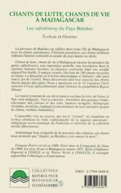 Chants De Lutte Chants De Vie A Madagascar T.1 - 4ème de couverture - Format classique