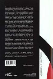 Les Enseignants L'Ecole Et La Division Sociale ; Cheminement De Recherche En Sociologie De L'Education - 4ème de couverture - Format classique