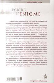 Écrire l'énigme - 4ème de couverture - Format classique