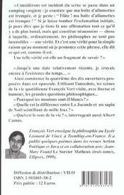Joconde,Le Sapin De Noel Et Camus (La) - 4ème de couverture - Format classique