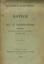 Notice Sur Le C. F. Justinus-Marie - Couverture - Format classique