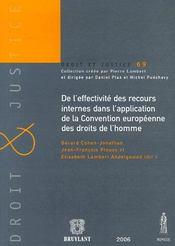 De l'effectivité des recours internes dans l'application de la convention européenne des droits de l'homme - Intérieur - Format classique