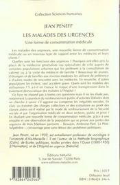 Malades Des Urgences : Une Forme De Consommation Medicale (Les) - 4ème de couverture - Format classique