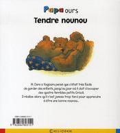 Papa ours ; tendre nounou - 4ème de couverture - Format classique
