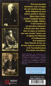 Les Trois Maitres Du Budo - 4ème de couverture - Format classique