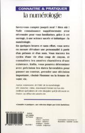 Connaitre Et Pratiquer La Numerologie - 4ème de couverture - Format classique