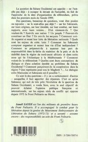 Les sahraouis - 4ème de couverture - Format classique