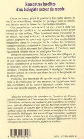 Rencontres Insolites D'Un Biologiste Autour Du Monde - 4ème de couverture - Format classique