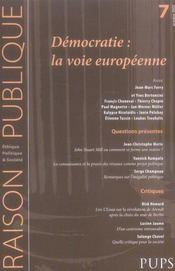 Raison Publique N.7 ; Les Démocraties : La Voie Européenne - Intérieur - Format classique