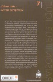 Raison Publique N.7 ; Les Démocraties : La Voie Européenne - 4ème de couverture - Format classique