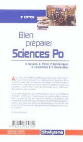 Bien preparer sciences po - 4ème de couverture - Format classique