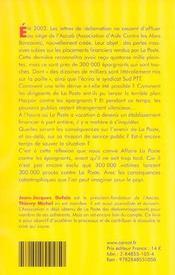 Affaire La Poste Contre Les Epargnants - 4ème de couverture - Format classique