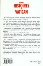 Petites histoires du histoires au vatican ; anecdotes et faceties des papes au xx siecle - 4ème de couverture - Format classique
