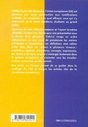Tout Savoir Sur L'Europe Glossaire De L'Union Europeenne - 4ème de couverture - Format classique