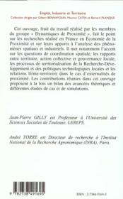 Dynamiques De Proximite - 4ème de couverture - Format classique