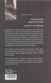 Massacre En Ardennes - 4ème de couverture - Format classique