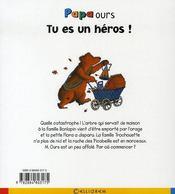 Papa ours ; tu es un héros - 4ème de couverture - Format classique