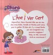 Clara Chocolat t.1 ; l'âne i vert cerf - 4ème de couverture - Format classique