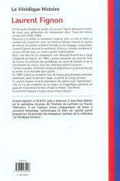 Veridique Histoire De Laurent Fignon - 4ème de couverture - Format classique
