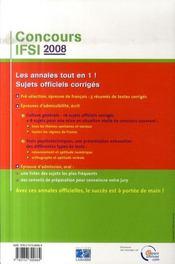 Concours IFSI (édition 2008) - 4ème de couverture - Format classique
