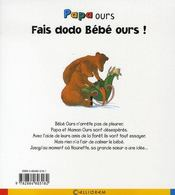 Papa ours ; fais dodo bébé ours ! - 4ème de couverture - Format classique