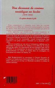 Une Decennie De Cinema Sovietique En Textes, 1919-1930 ; Le Systeme Derriere La Fable - 4ème de couverture - Format classique