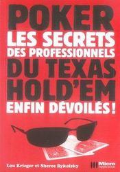 Poker ; les secrets des professionnels du texas hold'em enfin dévoilés - Intérieur - Format classique