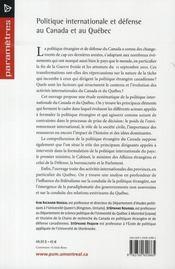 Politique internationale et défense au Canada et au Québec - 4ème de couverture - Format classique