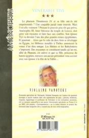 Amenophis T03 Venerable Tiyi - 4ème de couverture - Format classique