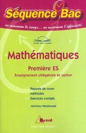 Mathématiques ; Première ES - Intérieur - Format classique