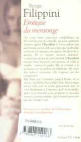 Erotique Du Mensonge - 4ème de couverture - Format classique