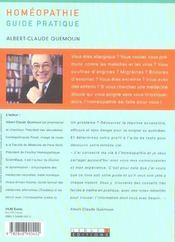 Homeopathie guide pratique - 4ème de couverture - Format classique