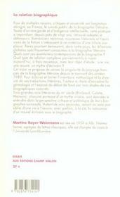 La Relation Biographique - 4ème de couverture - Format classique