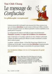 Le message de confucius ; un philosophe exceptionnel - 4ème de couverture - Format classique
