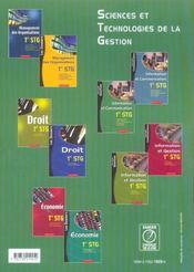 Information Et Communication ; 1ere Stg ; Specialite Gestion - 4ème de couverture - Format classique