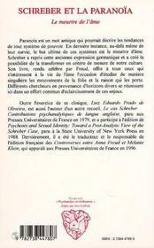 Schreber Et La Paranoia ; Le Meurtre De L'Ame - 4ème de couverture - Format classique