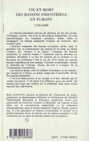 Vie Et Mort Des Bassins Industriels En Europe, 1750-2000 - 4ème de couverture - Format classique