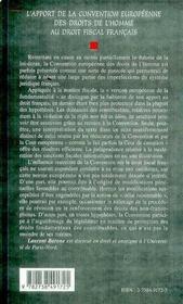 L'Apport De La Convention Europeenne Des Droits De L'Homme Au Droit Fiscal Francais - 4ème de couverture - Format classique
